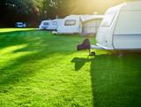Campsite with caravans poster