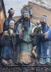 Ceramic figurines decorate Thien Hau Pagoda in Saigon.
