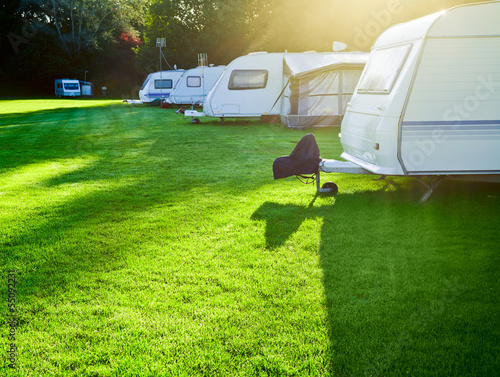 canvas print picture Campsite with caravans