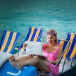 Surprised Woman looking at laptop screen