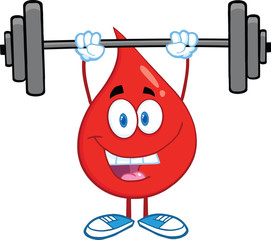 Red Blood Drop Cartoon Character Lifting Weights