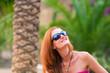 Happy girl on tropical resort