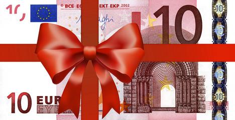 10 Euroschein mit breiten Geschenkband