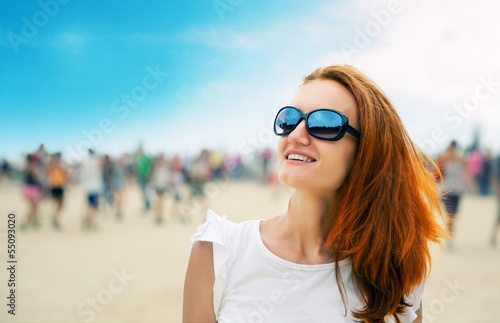 Woman at a beach party