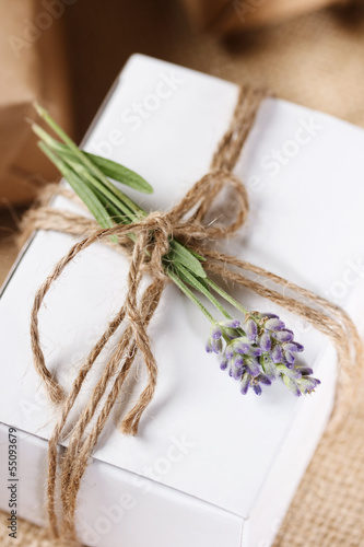 Homemade Giftbox with Lavender Sprig