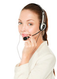 A portrait of a call center employee wearing headset