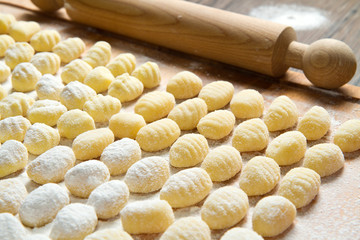 Fresh homemade potato gnocchi ready for cooking