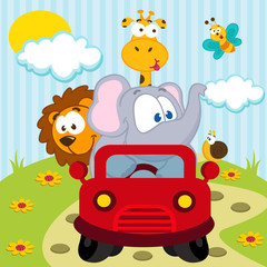 animals by car - vector illustration
