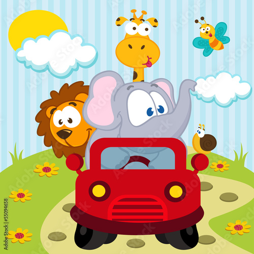 animals by car - vector illustration - 55094658