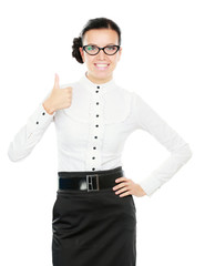 A young woman wearing glasses and showing ok