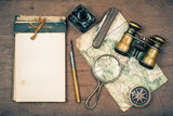 Notebook, compass, map, binoculars, pen, knife, magnifying glass