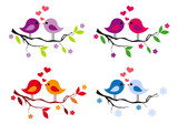 cute birds with red hearts on tree, vector set
