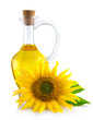 Jug with sunflower oil isolated on white