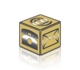 Gold, silber, Cube, 3D