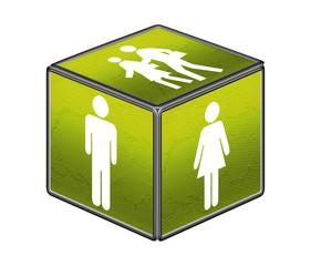 Mann, Frau, Paar, Cube grün