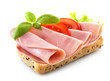 sandwich with pork ham on white background
