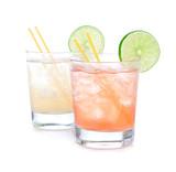 Summer beach margarita cocktails in spirit glasses poster