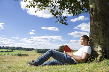 Man Reading a Book in the Sun