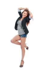 Happy young beautiful full body brunette woman