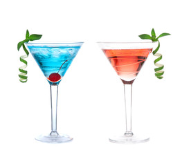 Red and blue alcohol cosmopolitan cocktails drinks