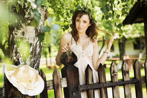 Sexy brunette lady leaning on the wooden fence