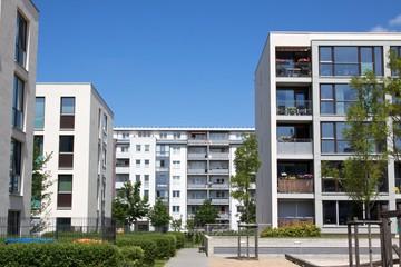 Moderne Neubausiedlung Mehrfamilienhäuser