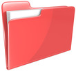 Red Folder. Open folder with papers. Red.