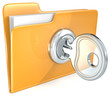 Secure files. Folder with Key.