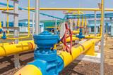Fototapety Gas compressor station in Ukraine in bright sunny summer day