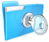 Secure files. Blue Folder with Key.