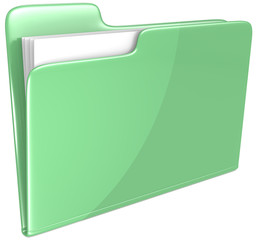 Green Folder.Open folder with papers. Green.