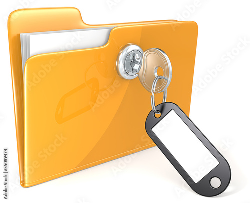 Secure files.Folder with Key, Keyring and Label. Copy Space.