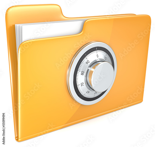 File protection. Folder with combination lock.
