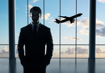 businessman and airplane