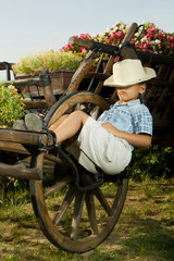 Boy sleeping in garden on the carriage
