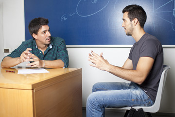 Male student during an oral exam