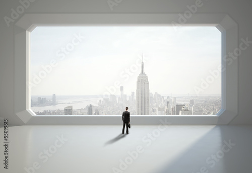 businessman and big window