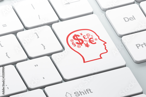 Finance concept: Head With Finance Symbol on computer keyboard b