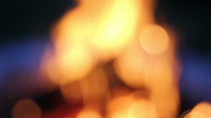Wood Burning Fire Pit with Orange Flames Bokeh 1080p