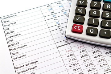 Financial reports with calculator
