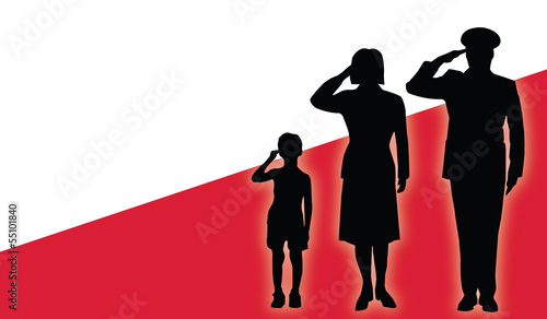 Poland soldier family salut