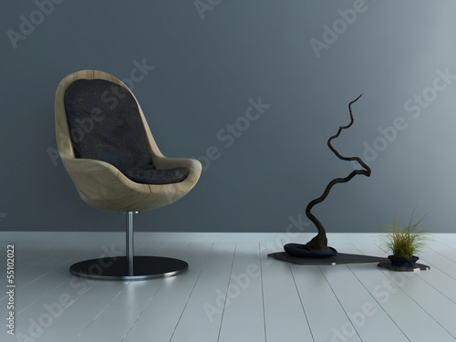 Ultramodern wooden chair against gray wall