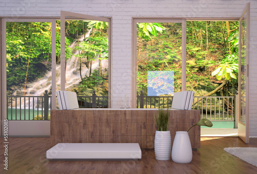 Tropical bathroom interior with bathtub and landscape view
