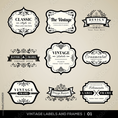 Fototapeta Vintage labels and frames