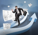 Businessman jumping over arrows