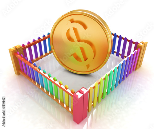 Dollar coin in closed colorfull fence concept illustration