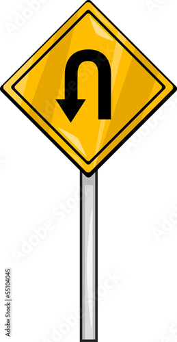 u turn sign clip art cartoon illustration