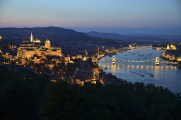 Buda castle and Parliament at night in Budapest, Hungary