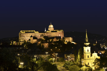 Buda castle at night in Budapest, Hungary