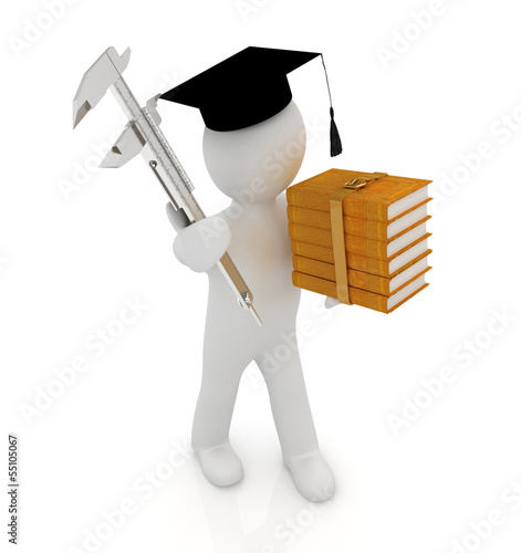 3d man in graduation hat with literature and vernier caliper